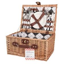 picnic basket set for 4 savisto luxury 4 person wicker picnic basket with picnic set