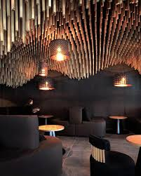 Wohnzimmer Bar Zh A 3 D Printed Sculptural Canopy Of Over 7000 Wooden Cylinders