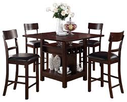 Dining Room Tables With Storage Rosy Brown 5 Piece Counter Height Set Square Table Lazy Susan Wine
