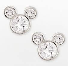 mickey mouse earrings disney mickey mouse sterling silver cubic zirconia stud earrings