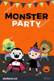 zombie halloween invitations monster party halloween poster invite vector stock vector