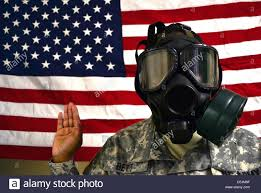 Chamber Flag Soldiers Wearing Gas Masks Take Part In A Reenlistment Ceremony In