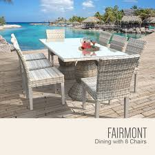 fairmont rectangular outdoor patio dining table with 8 armless