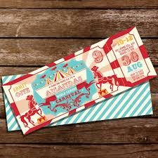 backyard carnival party ticket invitation vintage circus party