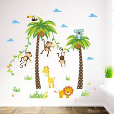 cartoon monkey swing on coconut tree wall stickers for kids