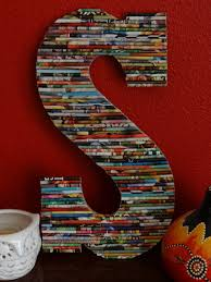13 in up cycled wood wall letter rolled paper art very mod boho