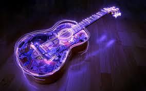 digital lights of guitar photo and desktop wallpaper