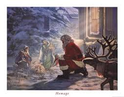 santa and baby jesus picture homage print christmas prints and posters