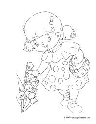 Coloriages fillette au muguet coloriage à imprimer  frhellokidscom