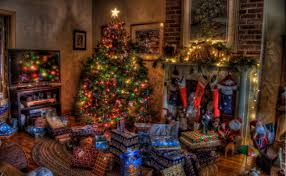 download wallpaper tree christmas presents fireplace holiday