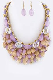 necklace metal images Acne9032q4 purple beads metal leaves statement necklace set jpg