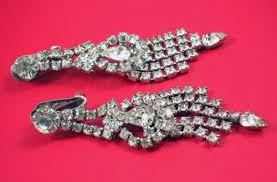 rhinestone chandelier earrings vintage 60s rhinestone clip on chandelier earrings
