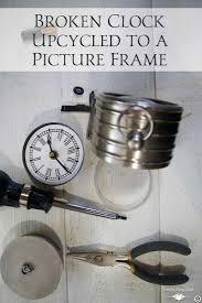 broken clock repurposed into a picture frame clocks repurpose
