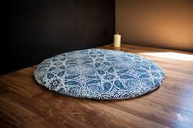round zabuton meditation mat floor cushion blue mandala organic