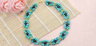 bead design jewelry necklace images How to make beautiful turquoise necklace design with black and jpg