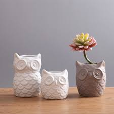 handmade simple owl figurine ceramic owl vase ornaments creative