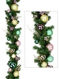 pre decorated antique gold pink u0026 mint bauble u0026 pine garland
