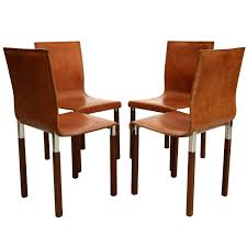 Rustic Leather Dining Chairs by Set Of Four Leather Emile Industrial Modern Dining Chairs By Zele