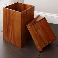 teak waste basket with swing top lid natural teak bathroom