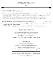 Skills In Job Resume by Skills In Resume For Electronics Engineer 10188