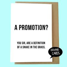 Congrats On New Job Card Funny Congratulations Card Promotion At Work Rude By Offhandcards