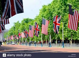 Usa Stars Flag Union Flag And Stars U0026 Stripes In The Mall London For Visit By Us