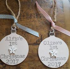 Baby S First Christmas Wooden Bauble by Babys First Christmas Decoration Ebay