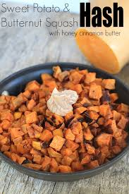 sweet potato butternut squash hash with honey cinnamon butter