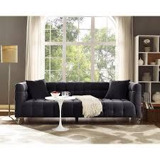 tov furniture tov s100 bea dark grey tufted velvet sofa w lucite legs