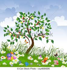 fruits flowers flower clearing with fruit trees vector clipart search