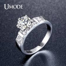 cubic zirconia engagement rings white gold aliexpress buy umode luxury 1 25ct cubic zirconia engagement