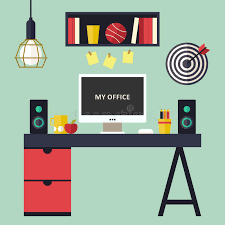 home office flat interior vector illustration stock vector image