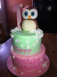 owl themed 1st birthday cake cakecentral com
