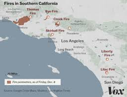 map of california counties map where southern california s blazes are burning vox