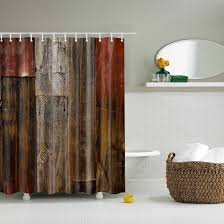 old wood door design shower curtain waterproof polyester fabric