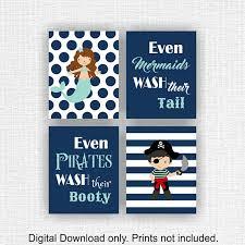 instant download african american mermaid u0026 pirate bathroom