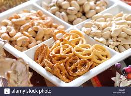 Christmas Nuts A Plate Of Christmas Party Snacks Nuts Stock Photo Royalty Free