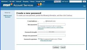 reset microsoft online services password hotmail password recovery