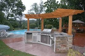 Designing An Outdoor Kitchen Outdoor Kitchen Ideas Photos Plain White Wooden Counter Polished