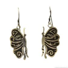 hook earrings hopi silver overlay butterfly design hook earrings