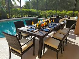 Metal Patio Furniture Set - 9 piece outdoor patio furniture dining table set w polywood top
