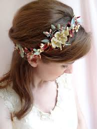 floral headband burgundy and gold floral headband for marsala wedding