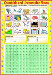 countable and uncountable nouns with b w version and answer key