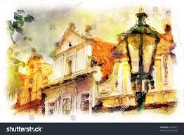 street old part prague made artistic stock illustration 35056957