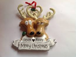 Christmas Deer Decorations Uk couple personalised christmas tree decoration