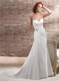 Chiffon Wedding Dresses Sweetheart Ruched Chiffon Wedding Dress With Illusion Crystals Back