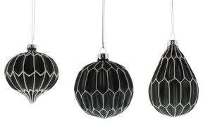 black white classic shapes ornament set of 6 glass