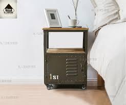 american wood bedroom nightstand pulley iron drawers sideboard