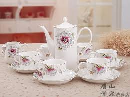 tea cup set gilded banding floral painting beautiful bone china tea cup and