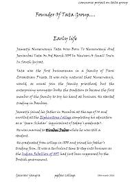jamsetji tata profiles on word document